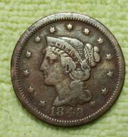 REDUCED!!!   1848 BRAIDED HAIR LARGE CENT IN VF CONDITION!!