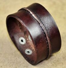 S47 Mens Cool Single Band Sewed Genuine Leather Bracelet Wristband Brown