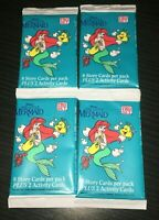 NEW VINTAGE ORIGINAL 1991 DISNEY'S THE LITTLE MERMAID TRADING CARDS PACK X 4