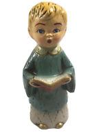"Vintage 1950s Chalkware 7.5"" Singing Choir Hymnal Boy Christmas Holiday Japan"