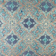 Blue Fabric Copper Shiny Design [make Pillows] Generous 2 yards x 45-inches
