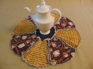 """Coffee Cafe Cappuccino  Rag Quilt 20"""" Table Centerpiece Candle Mat Brown Yellow"""