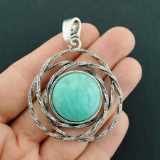 Turquoise Charm Antique Silver Tone Imitation Turquoise Stone  - SC3263