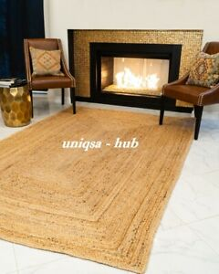 Rug 100% Natural braided jute Rug Handmade reversible Runner Rug home decor rugs