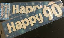 90th  Birthday Banner * Blue Foil * 2.7m will split into 3 * 90th Birthday Party