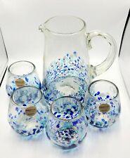 AMICI MEXICAN GLASSWARE ~ BLUE CONFETTI PITCHER & 4 GLASSES SET ~ NEW