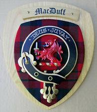 NOS Scottish Clan MacDUFF Oak Tartan Plaque Crest Shield