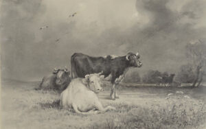 """Otto Arnz (1823-aft. 1860) """"On the pasture"""", drawing, early 1850"""