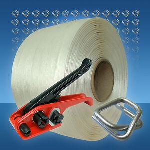 19 mm Umreifungsset, 250 m Textil-Umreifungsband Umreifungsgerät 150 Klemmen