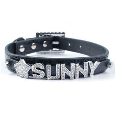 Personalized PU Leather Cat Dog Collars Customized Free Name and Charm Chihuahua