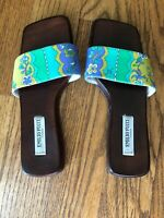 Emilio Pucci Firenze Womens Slides Flats Sandals Purple, Green &Gold Size EUR 38