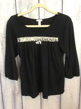 Vera Wang Womens Size Medium (runs small) Shirt Black With Lace Top