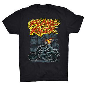 Flame Racer T Shirt Motorcycle Motorbike Skull Ghost Rider Biker Garage