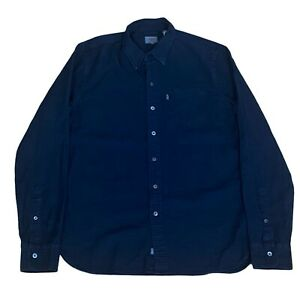 Levis Men's Sunset Pocket Shirt White Cone Selvedge Denim Plaid Dark Navy Medium