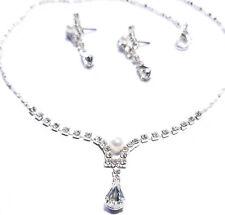 Rhinestone Created Pearls Necklace Earring Choker Set