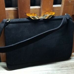 1940s PICHEL Handbag With Decorative Tortoiseshell Clasp