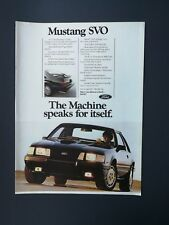 Vintage 1983 Ford Mustang SVO Full Page Original Color Ad