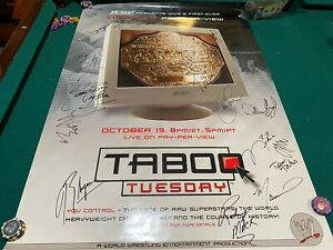 WWE Taboo Tuesday 2004 Autographed poster LOOK