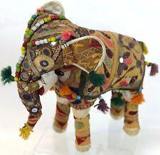 """Vintage 12"""" INDIA Ceremonial Embellished Hindu Royal Textile Stuffed Elephant"""