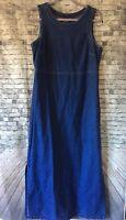 Vintage Denim Jumper Maxi Dress Embroidered Size 10 IVY