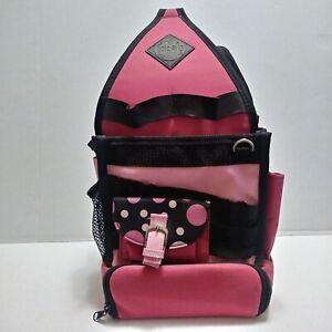 Tote-Ally Cool II On The Go Tote Craft Scrapbook Black & Pink Polka Dot Storage