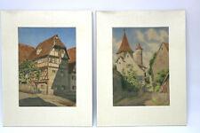 2 Aquarelle Fränkisches Dorf Fachwerkhaus Turm Kirche Monogrammiert