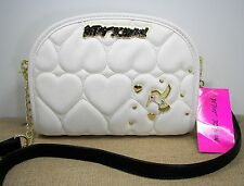 Betsey Johnson Crossbody Purse Hummingbird Quilted Heart Cream Faux Leather