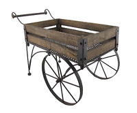 Zeckos Rustic Wood And Metal Wagon Cart Style Plant Stand 24 Inches Long