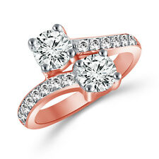 2 Carat Forever Us Two Stone Engagement Diamond Solitaire Ring 10K Rose Gold