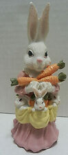 """Mother & 6 Baby Bunny Easter Eggs Spring Bunnies Figurine Carrots 5"""""""