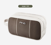 PING 2021 Premium Golf 2-Zippered Pouch Bag Pocket Khaki Color Gift Accessory_UK