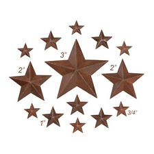 "14 Rusty Tin Look Dimensional Barn Stars ~ Asst Sizes ~ 3/4"", 1"", 2"", 3"""