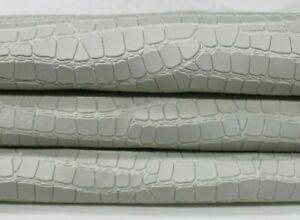 LIGHT GREY CROCODILE EMBOSSED veg tan Lambskin leather skin 8sqf 0.8mm #A7099