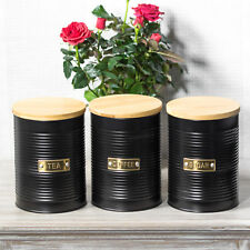Otto Matt Black Tea Coffee Sugar Canisters with Wooden Lids Kitchen Storage Jars