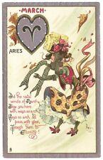 March Tuck Dwig Aries Blowing Wind Poem Valentine Postcard