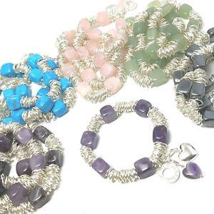 Gemstone Sweetie Silver Plated Chakra Bracelets NEW Amethyst Rose Quartz etc