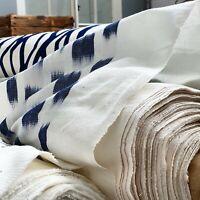 Designer Curtain Fabric Schumacher Ikat Blue 1 Metre White Free POSTAGE