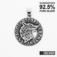 925 Silver WOLF Head in a Rune Circle Celtic Viking Pendant ✔️Solid ✔️Oxidized