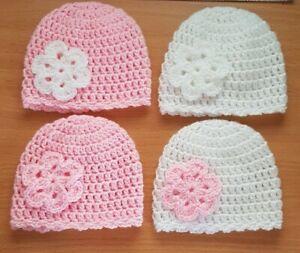 Baby Girls Hat with Flower Preemie /Newborn / 0/3 mths Handmade
