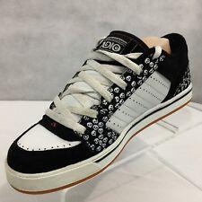 Adio Snap V.2 Skateboard Shoes Size W9 Skulls White Black Leather Suede