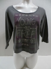 O'Neill top Small Young & Free graphic slogan tribal boho hippie festival casual