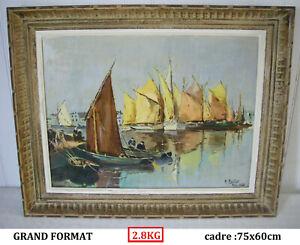 1956 huile sur toile tableau signé M. MARTIN maurice ? un port en bretagne marin