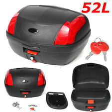 52L Motorcycle Storage Box Luggage Scooter Topbox Rear Top Tail Latch Secure