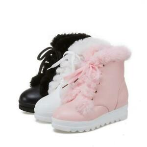 Women's Wedge Heel Snow Boots Ladies Fur Lined Winter College Lace Ups Booties D