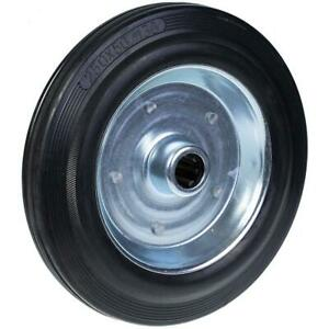 """250mm 10"""" wheel rubber tyre with pressed steel centre 25mm 210kg"""