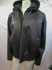 GUESS MEN'S faux-leather DETACHABLE HOOD JACKET/COAT SZ XL