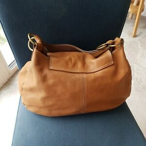 Abro Medium/large Thick tan slouchy Leather Shoulder Bag