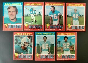 1971 Topps Miami Dolphins 7 Card Partial Set- Griese/Warfield/Morris RC