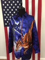 vtg 90s Pterodactyl & Dragon Polyester Shiny Shirt men 2XL anime dinosaur 577482