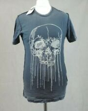Topman  Embroidered Skull Distressed Black T-shirt size S CR008 FF 14